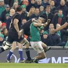 Aiming high: New Zealand's Malakai Fekitoa tackles Simon Zebo in the clash against Ireland in 2016