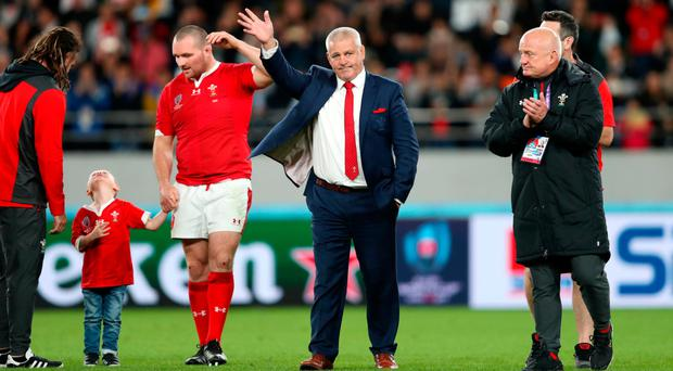 Farewell: Wales coach Warren Gatland salutes the fans after bronze final at Tokyo Stadium yesterday