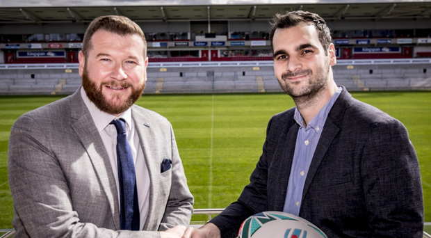 Winning team: Martin Byrne, head of marketing at Remus Uomo, with Belfast Telegraph rugby correspondent Jonathan Bradley