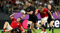 Front foot: Kieran Read on the charge
