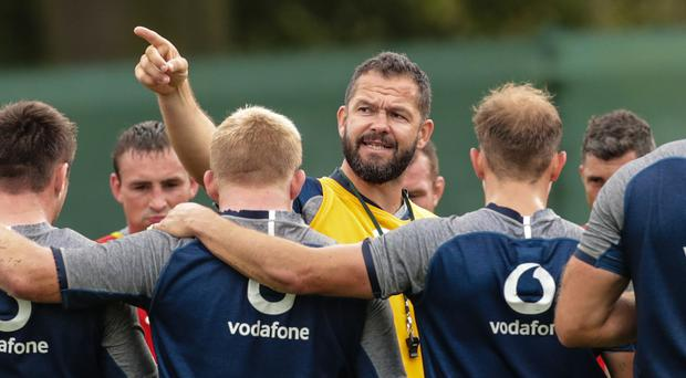 Pointing the way: Ireland defence coach Andy Farrell with the squad