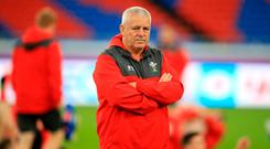 In charge: Wales coach Warren Gatland during a training session at The International Stadium, Yokohama yesterday