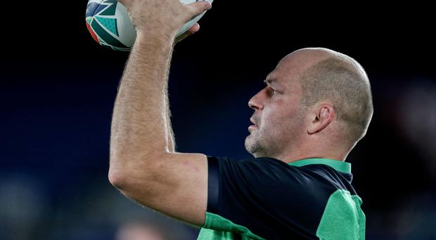 Hands on: Rory Best during yesterday's Captain's Run at the International Stadium, Yokohama