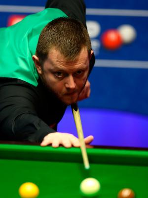 Off cue: Mark Allen lines up a shot but he couldn't get going