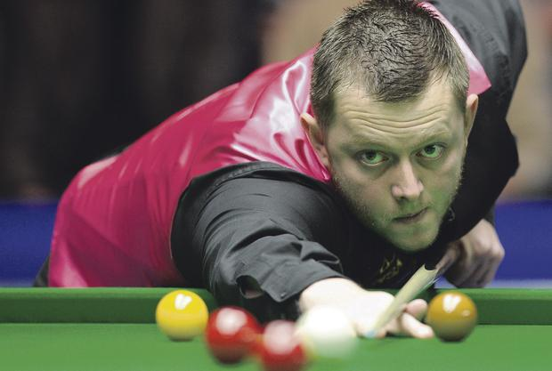 Mark Allen takes on Ricky Walden in York last night PA