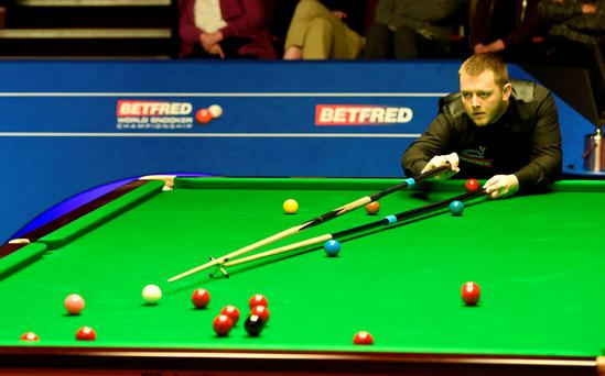 Eagle eye: Mark Allen on way to victory over Ryan Day to set up a last 16 clash against Barry Hawkins
