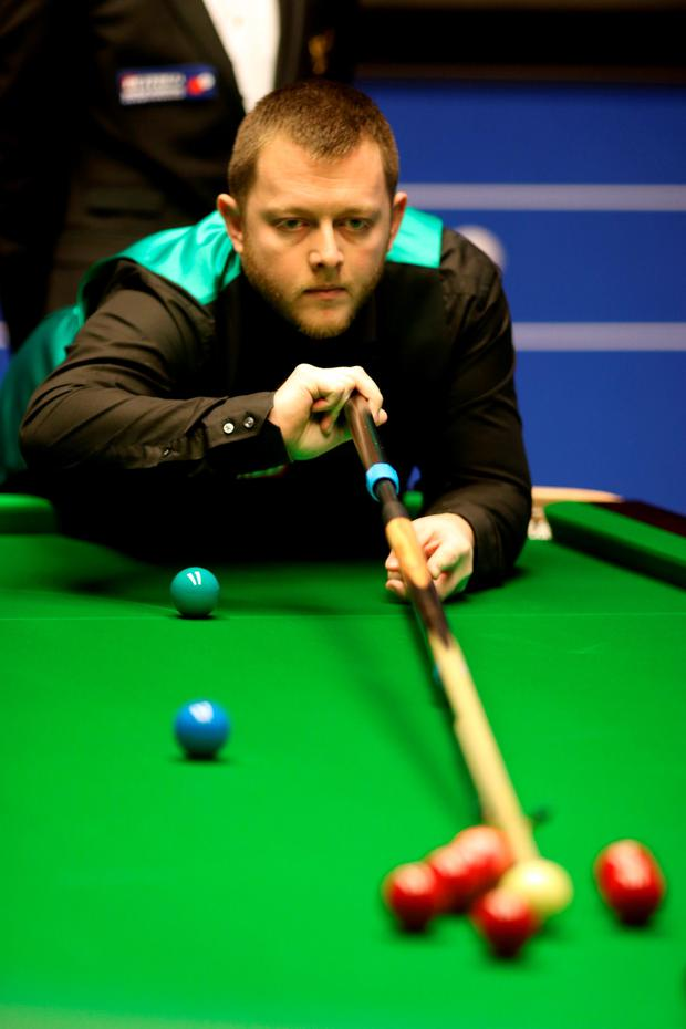 Angered: Mark Allen on the way to an 11-5 deficit against Kyren Wilson at the Crucible last night