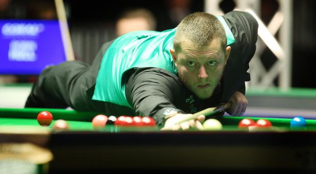On cue: Mark Allen on his way to victory last night at the Titanic Exhibition Centre