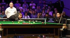 In line: Judd Trump en route to victory over Ronnie O'Sullivan at the Waterfront