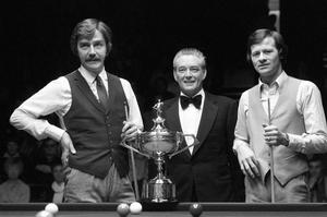 Crunch time: Cliff Thorburn (left) and Alex Higgins (right) flank referee John Street ahead of the World Snooker Championship final at The Crucible in 1980