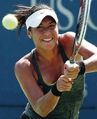 Flushed out: Heather Watson on her way to US Open defeat