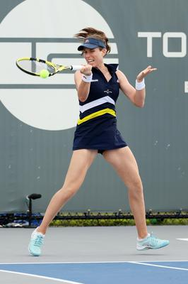 Early exit: Johanna Konta en route to defeat, during which she suffered from heart palpitations