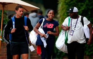 New era: Cori Gauff (centre) arrives for practice on middle Sunday at Wimbledon where she takes on Simona Halep