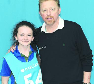 Joanna Minnis has been selected by Wimbledon champion Boris Becker to share a tennis court with legends