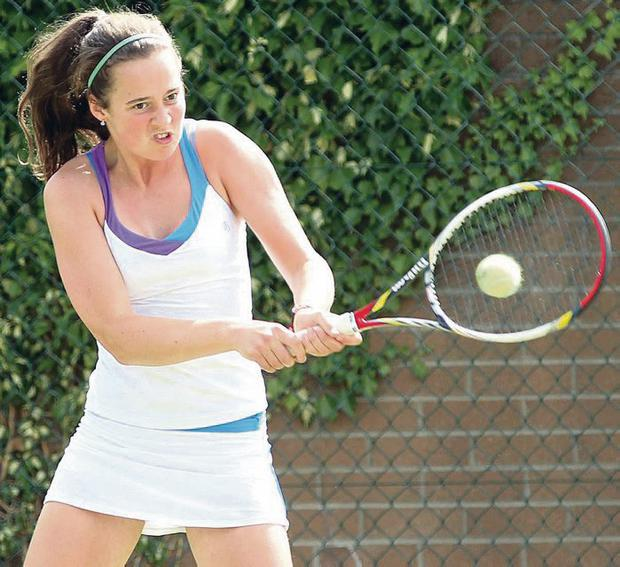 Belief: Lauren Deegan blasts her way to a surprise victory over No.2 seed Millie Stretton at ITF event in Belfast