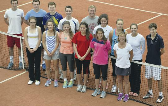 Net gains: Members of the Ulster College squad at David Lloyd (back from left) Sam Bothwell, Matthew McClurg, Callum Hagan, Drew Getty, coach Sam Armstrong, Lucy Octave, Karola Bejenaru, coach Lynsey McCullough and David Weir and (front) Lydia Kelly, Emily Beatty, Laura Reid, Annie McCullough, Caitlin McCullough and coach Louise Bothwell
