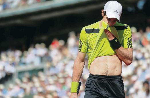 Slammed: Andy Murray has no answer to Rafa Nadal in their French Open semi
