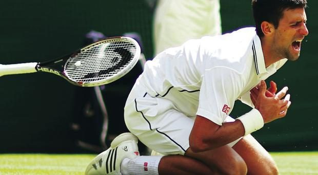 Wounded: Novak Djokovic injures his shoulder yesterday before recovering to beat Gilles Simon