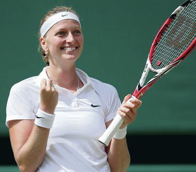 Back on big stage: Former champion Petra Kvitova will face Eugenie Bouchard in today's Wimbledon final