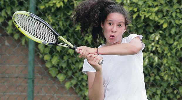 True grit: Lucy Octave had to dig deep against Austrian Lisa Friess to make it through to the second round at Windsor