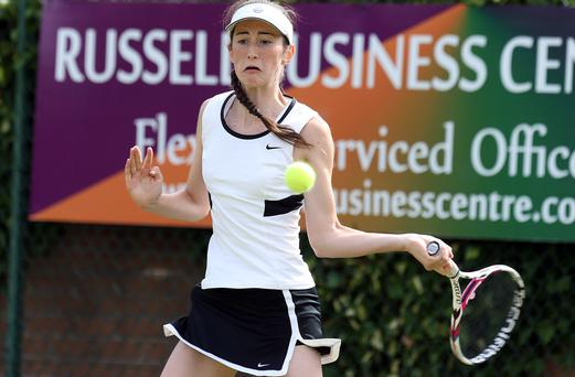 Ruthless: Georgia Drummy on her way to the title in the girls' singles final yesterday