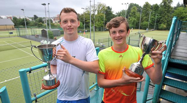 Court result: Matthew McClurg on his way to lifting Under-18 Boys Singles title at the Ulster Junior Championships held at the Boat Club