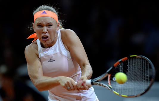 Hard-fought: Caroline Wozniacki on the way to defeat against Angelique Kerber in the Stuttgart Grand Prix final