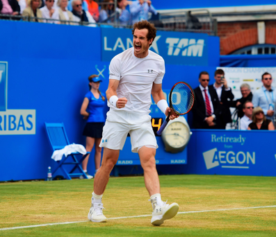 Four-midable: Andy Murray won his fourth Aegon Championship