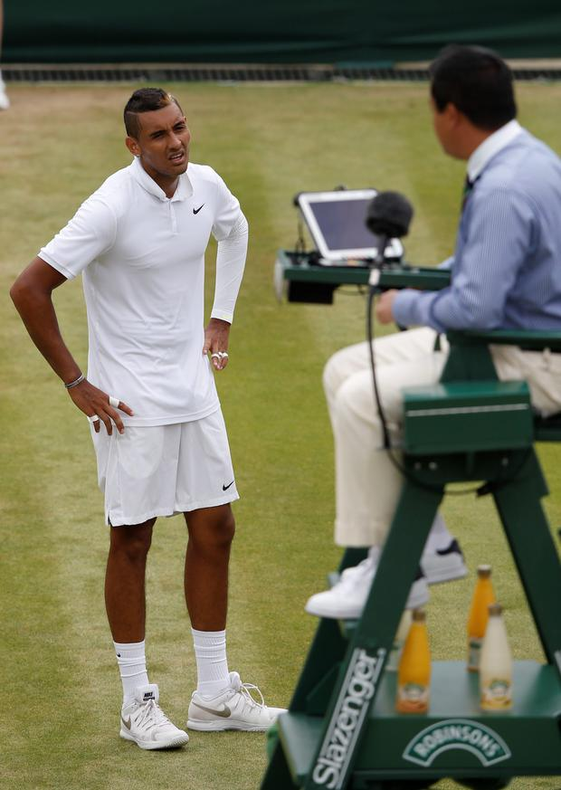 Holding court: Nick Kyrgios has words with the umpire