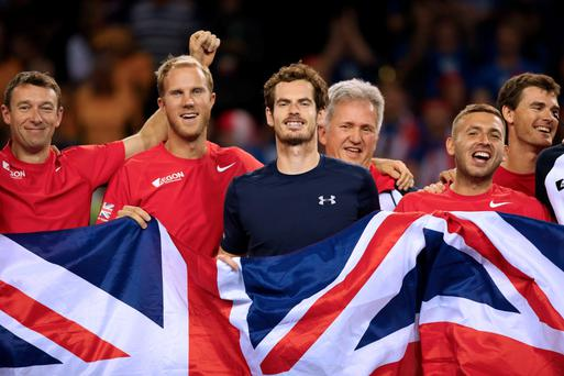 Team effort: Andy Murray and Team GB celebrate after beating Australia in Glasgow to reach the Davis Cup final