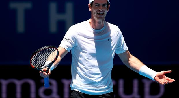 Winner: Andy Murray on way to victory over Alexander Zverev yesterday in Perth
