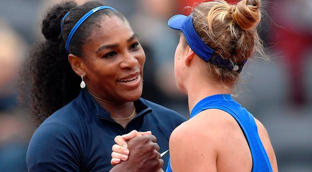 Serena Williams shakes hands with Ukraine's Elina Svitolina