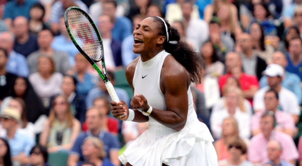 Net gains: Serena Williams celebrates victory over Christina McHale yesterday