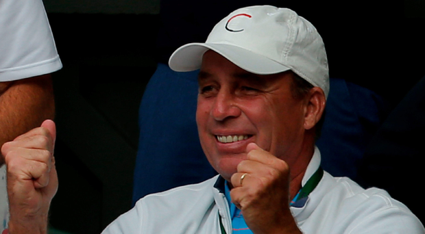 Rare sight: Andy Murray's coach Ivan Lendl isn't fond of showing emotion