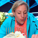 Make a wish: Angelique Kerber blows out the candles on her birthday cake