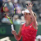 Winner alright: Johanna Konta celebrates defeating Simona Halep after her three sets win at Crandon Park Tennis Center