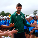 Falling star: World number 4 Novak Djokovic at Eastbourne yesterday
