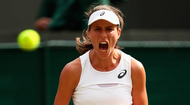 In with a shout: Johanna Konta is through to the quarter-finals.