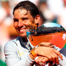 Rafael Nadal powered to a record 11th Rolex Monte-Carlo Masters title with a straight-sets victory over Kei Nishikori