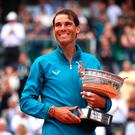 Rafael Nadal with his trophy after winning the French Open title