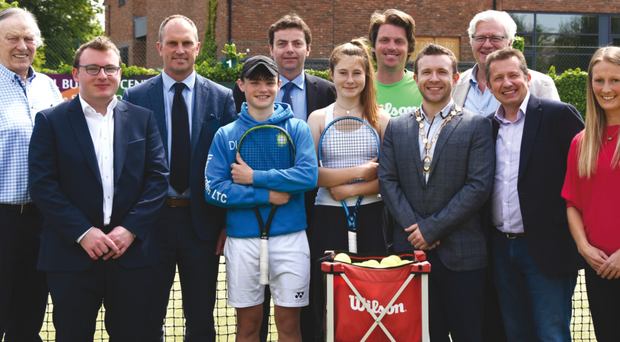 On court: At the launch of the Belfast City ITF Junior tournament at Windsor Lawn Tennis Club are (left to right) Ken Reid (Windsor President), David Fraser (Windsor Captain), Richard Fahey (Tennis Ireland CEO), Dylan Leeman (Player), Greg O'Rawe (Ulster Tennis President), Rachel McCrum (Player), Simon McFarland (Tournament Director), Peter McReynolds (Deputy Lord Mayor of Belfast), David Thompson (Sponsor), Ronan O'Kane (Sponsor) and Lauren Smythe (Ulster Tennis Development Manager)