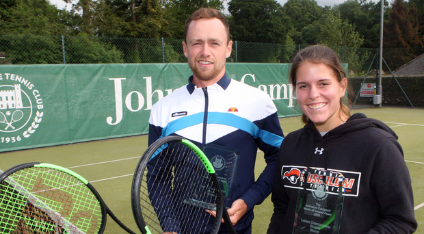 On top: Men's singles champion Peter Bothwell alongside Caitlin McCullough, who won the ladies' event at Hillsborough