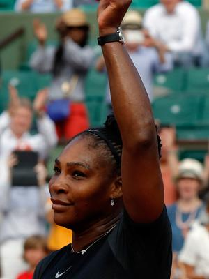 Strong start: Serena Williams salutes Paris crowd after win