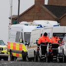 The scene at Blacksod yesterday as the search for the downed helicopter continues. Photo: Peter Byrne/PA Wire