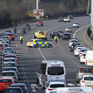 Police and emergency services at the scene of a crash on the M2 yesterday afternoon