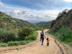 Alana Kerr Collins and son Noah  in Griffith Park, LA (before lockdown)
