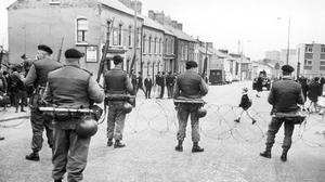 Soldiers man checkpoint during NI Troubles