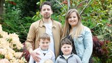 Claire Hackett with husband Mark Hackett and their children James, Matthew and Nina. Claire helps with a new mums support group. Picture Colm O'Reilly Sunday Life 18-05-2020
