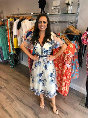 embroidered floral A-line midi dress £89.99