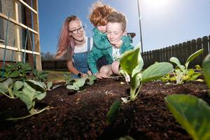 Alexandra Godfrey with her sons Nevin Godfrey (9) and Oliver Adams (2) from south Belfast talks about the joys of gardening during the COVID crisis.  Picture Colm O'Reilly Sunday Life 21-04-2020
